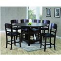 Crown Mark Conner  Contemporary 7 Piece Table and Chair Set - Table with Expanded Fold-Out Leaves