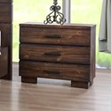 Crown Mark Cranston Solid-Wood Three Drawer Nightstand