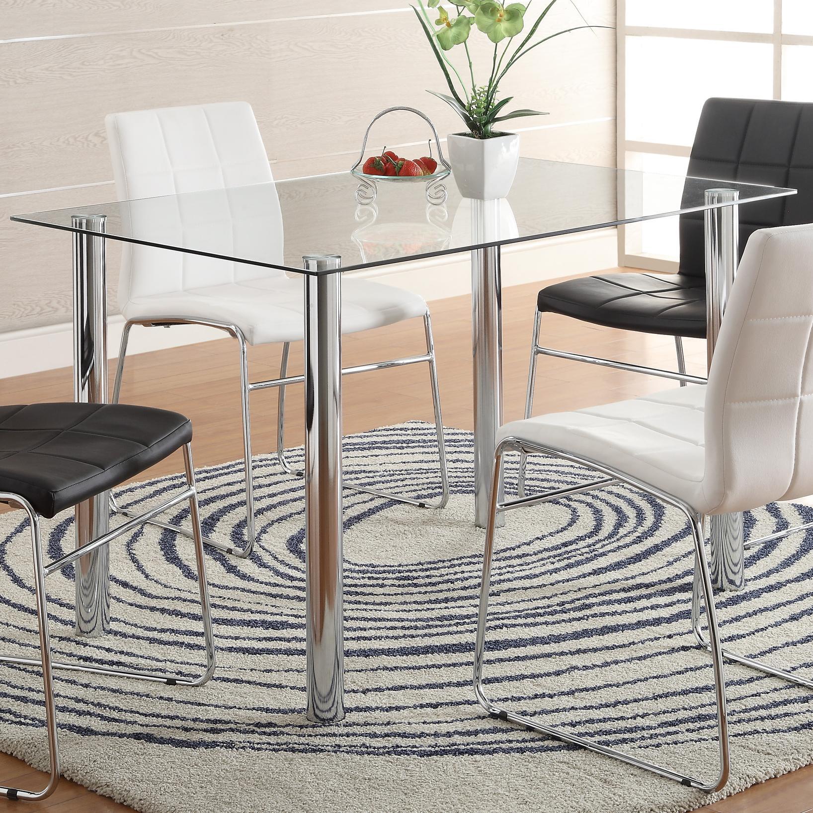 Crown Mark Crystal Rectangular Leg Table - Item Number: 1240T-Base+GL