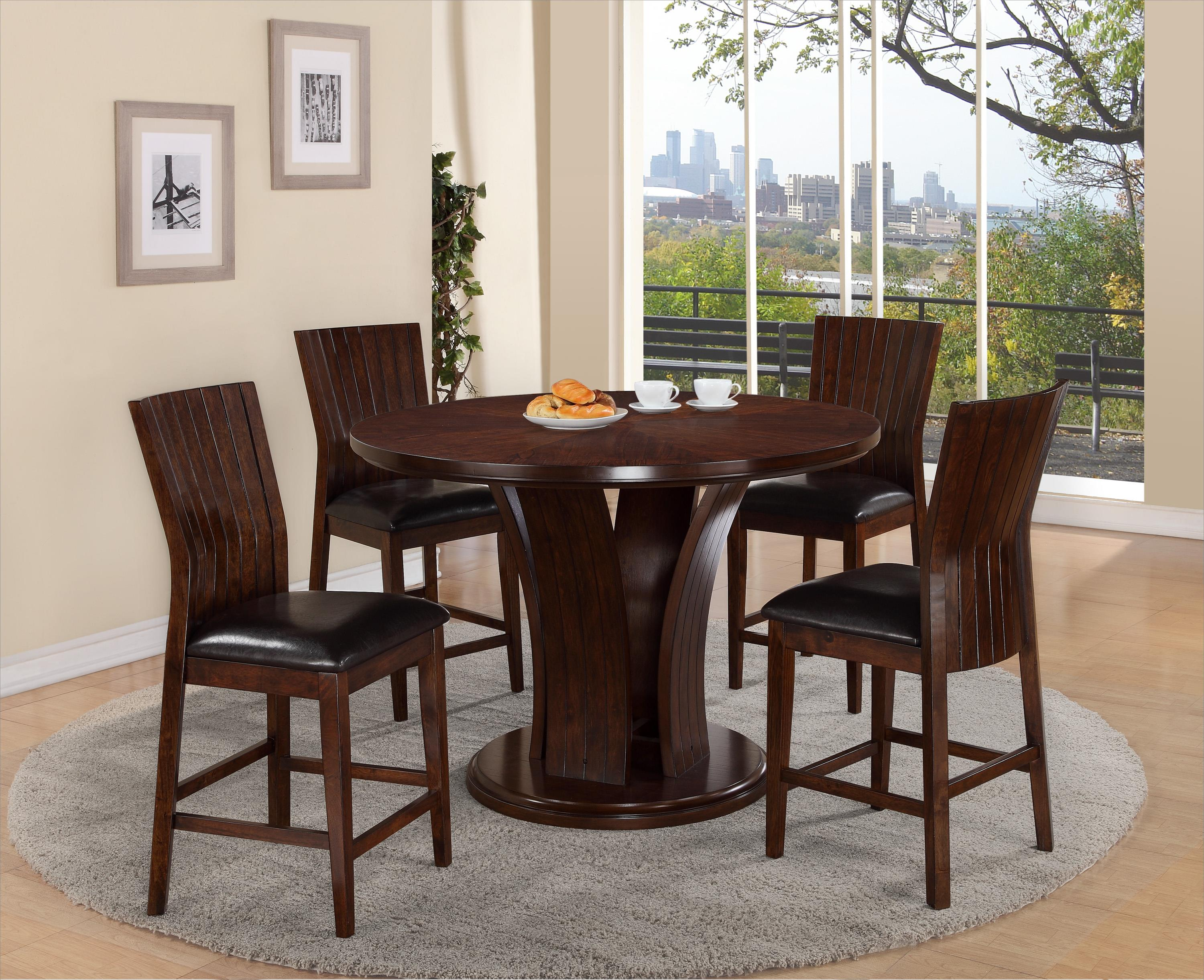 Crown Mark Daria Pub Height Dining Set - Item Number: 2734T-54-TOP+LEG+4x2734S-24-ESP