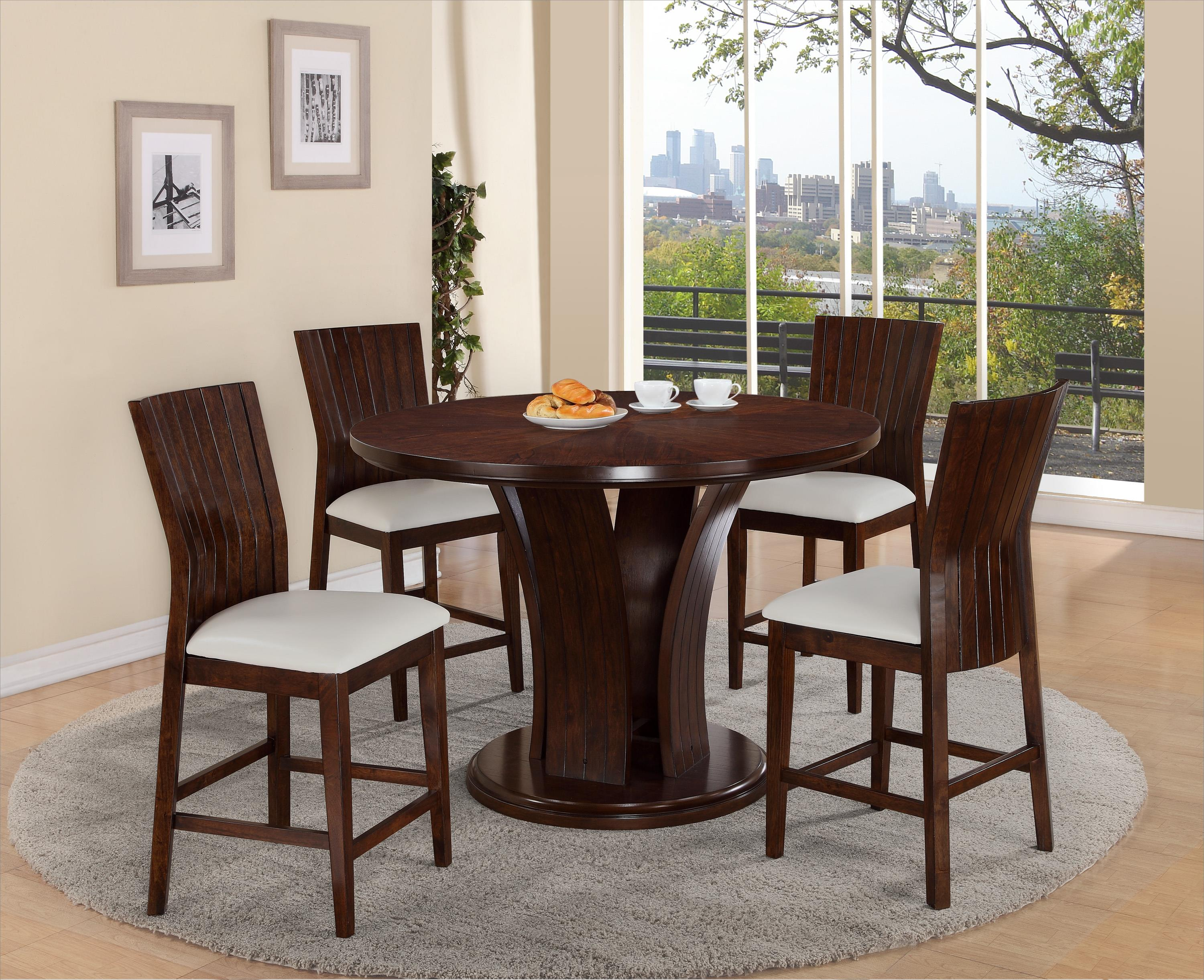 Crown Mark Daria Pub Height Dining Set - Item Number: 2734T-54-TOP+LEG+4x2734S-24-WH