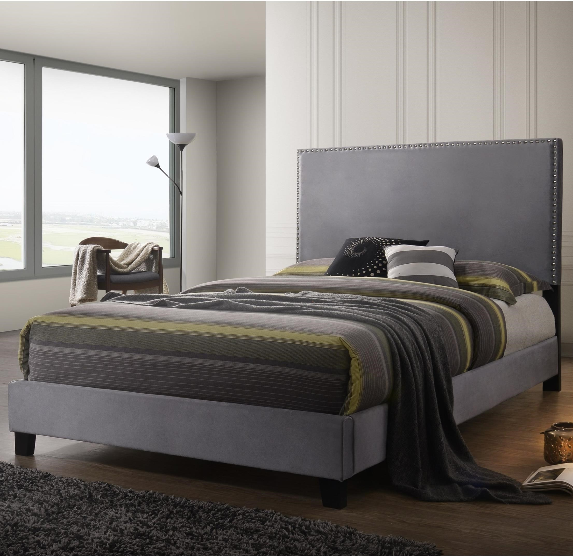 Crown Mark Farrow Queen Bedroom Group: Crown Mark Delora Queen Upholstered Bed With Nailhead Trim