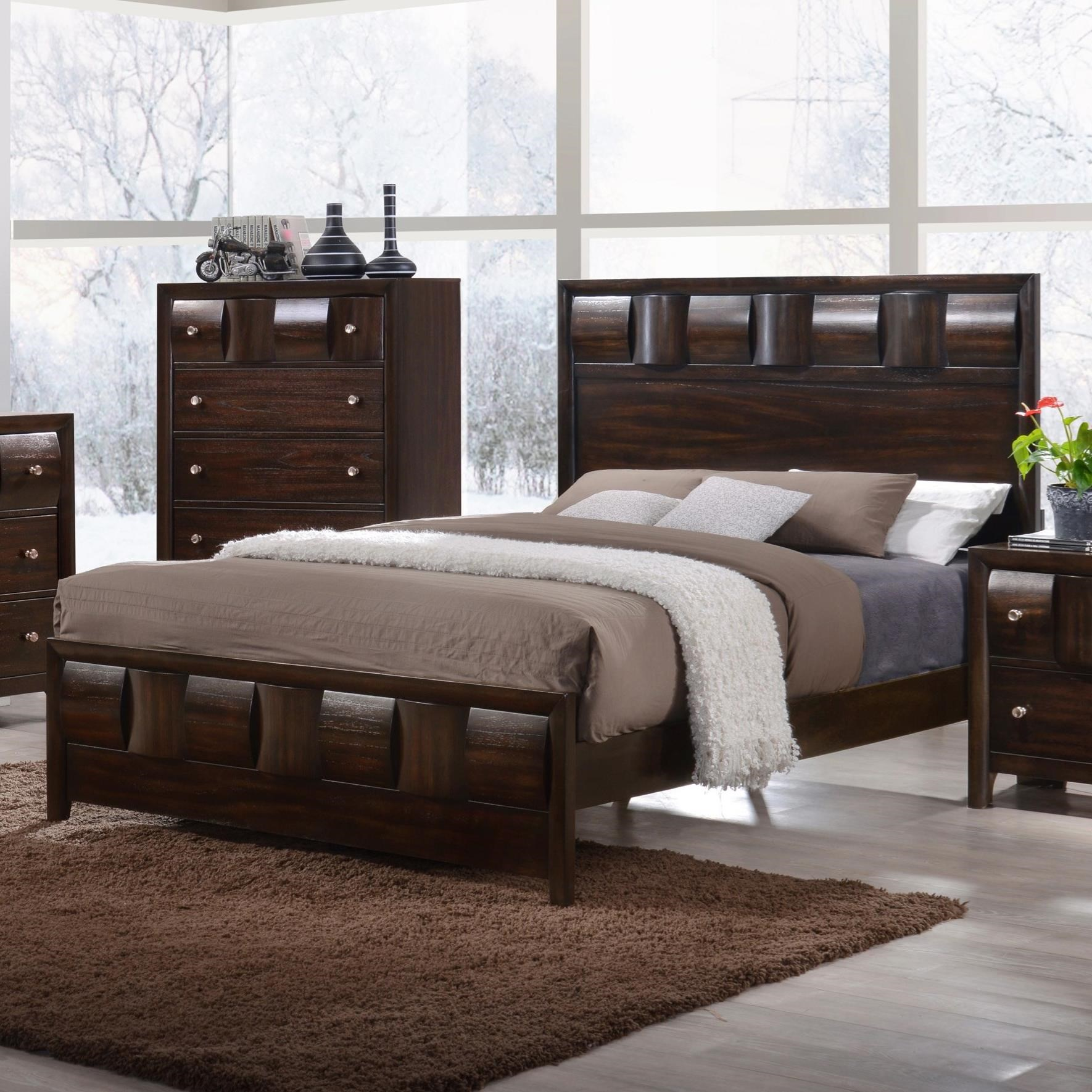 Crown Mark Delrey Queen Low Profile Bed - Item Number: B6800-Q-HBFB+KQ-RAIL