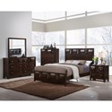 Crown Mark Delrey Queen Contemporary Low Profile Bed  - Bed Shown May Not Represent Size Indicated