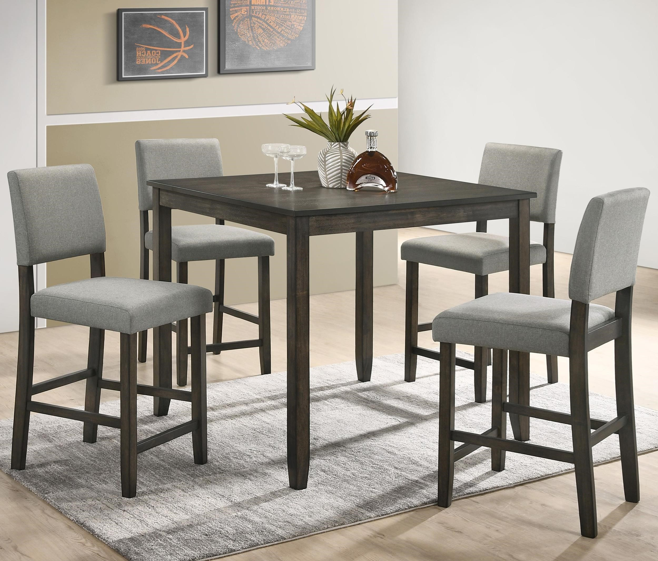 Crown Mark Derick 5 Piece Counter Height Table Set Darvin Furniture Pub Table And Stool Sets