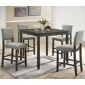 Crown Mark Derick 5 Piece Counter Height Table Set - Item Number: 2708SET-GY