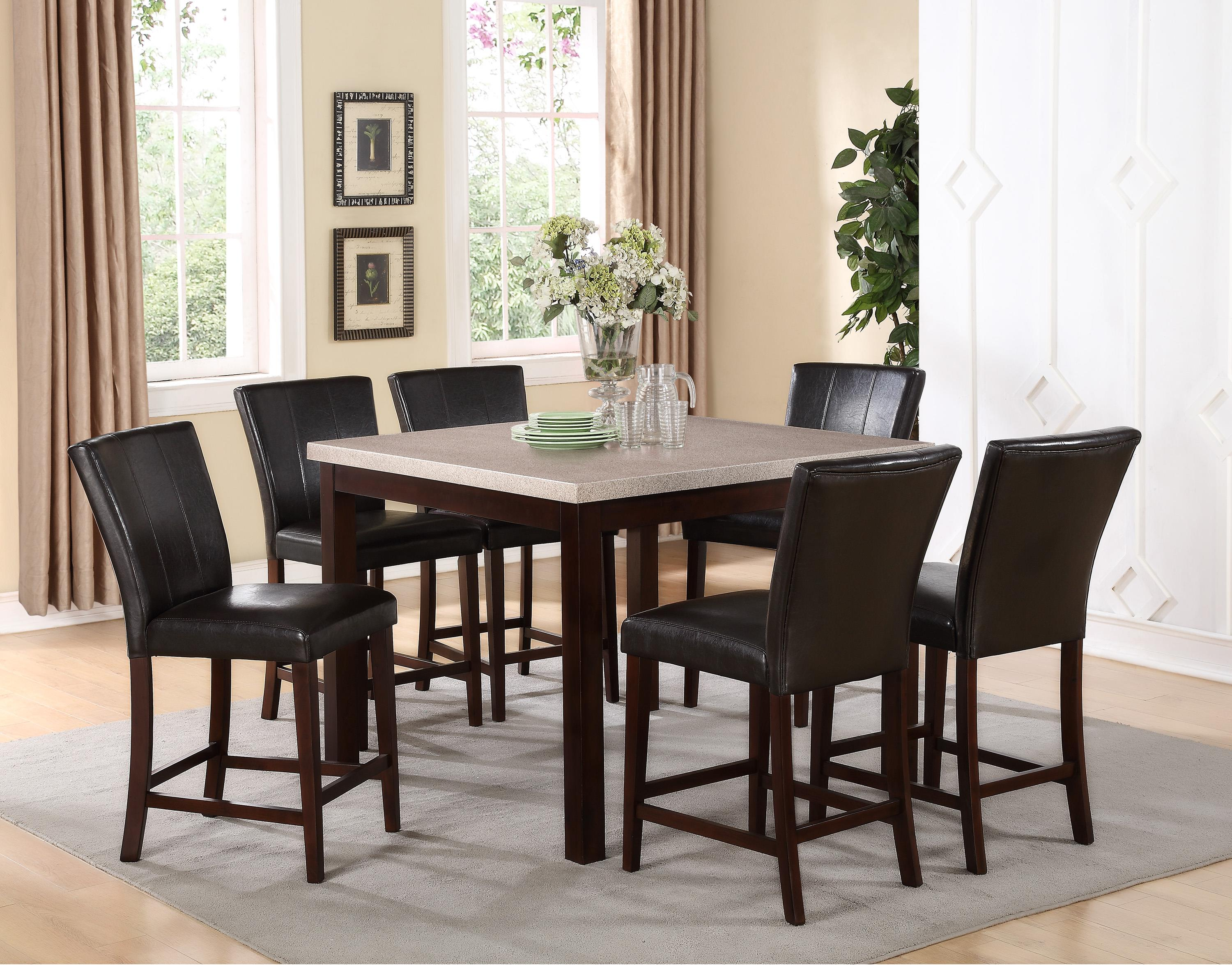 Crown Mark Dominic 7 Piece Counter Height Dining Set - Item Number: 2867T-4848+6xS-24