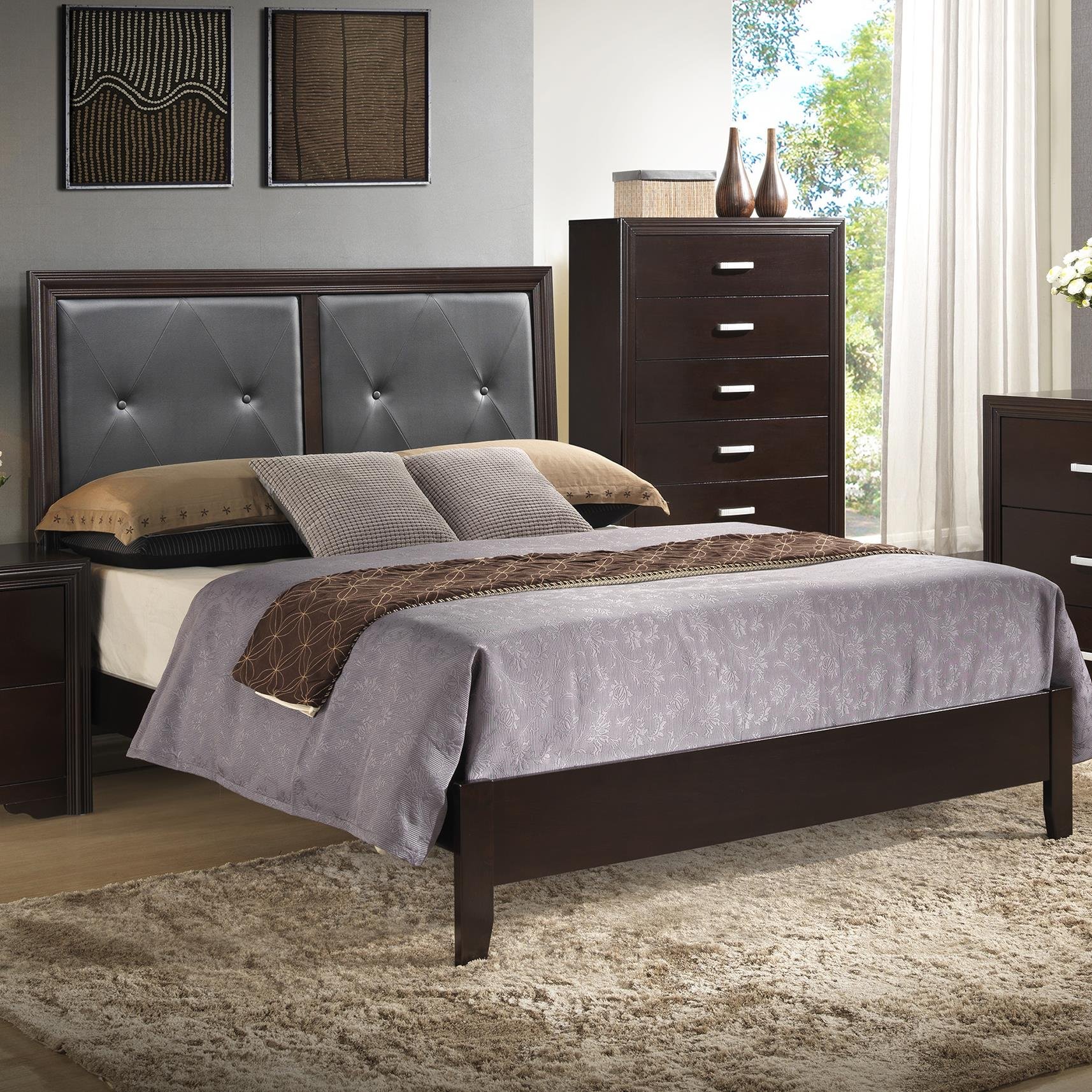 Crown Mark Elijah King Upholstered Bed - Item Number: B5300-KQ-RAIL+B5300-K-HBFB