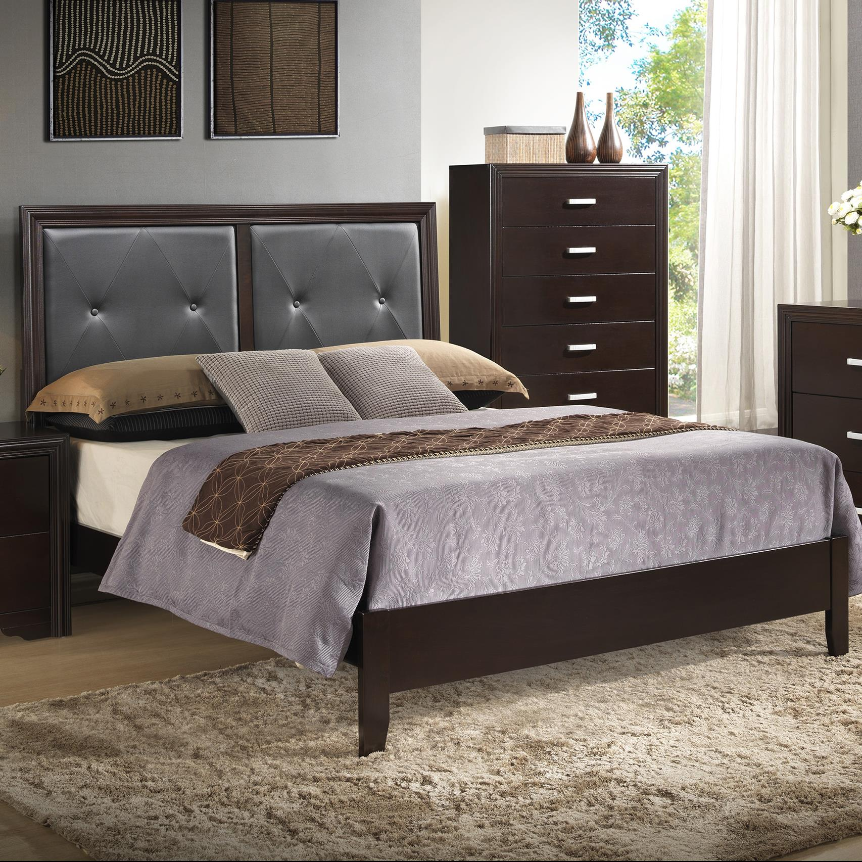 Crown Mark Elijah Queen Upholstered Bed - Item Number: B5300-KQ-RAIL+B5300-Q-HBFB