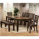 Crown Mark Elliott Rectangular Leg Dining Table with Leaf - Shown with Coordinating Bench and Dining Side Chairs.