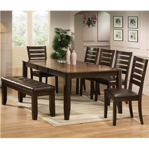 Crown Mark Elliott 6 Piece Table and Chair Set with Free Bench