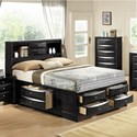 Crown Mark Emily Contemporary Queen Captain's Bed with Bookcase Headboard - Bed Shown May Not Represent Size Indicated