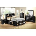 Crown Mark Emily Contemporary Queen Captain's Bed with Bookcase Headboard