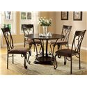 Crown Mark Emma 5 Piece Table & Chair Set - Item Number: 1280T-48-TOP+LEG+4xS