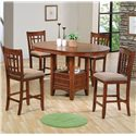 Crown Mark Empire Counter Height Dining Table with Pedestal Base - Shown with Side Chairs