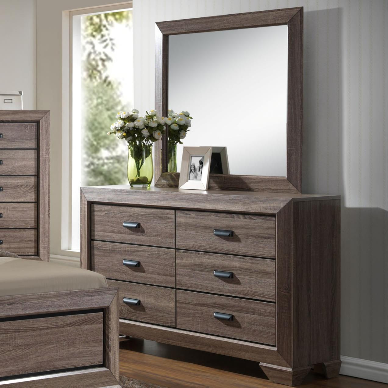 Crown Mark Farrow Contemporary Dresser And Mirror Set Royal