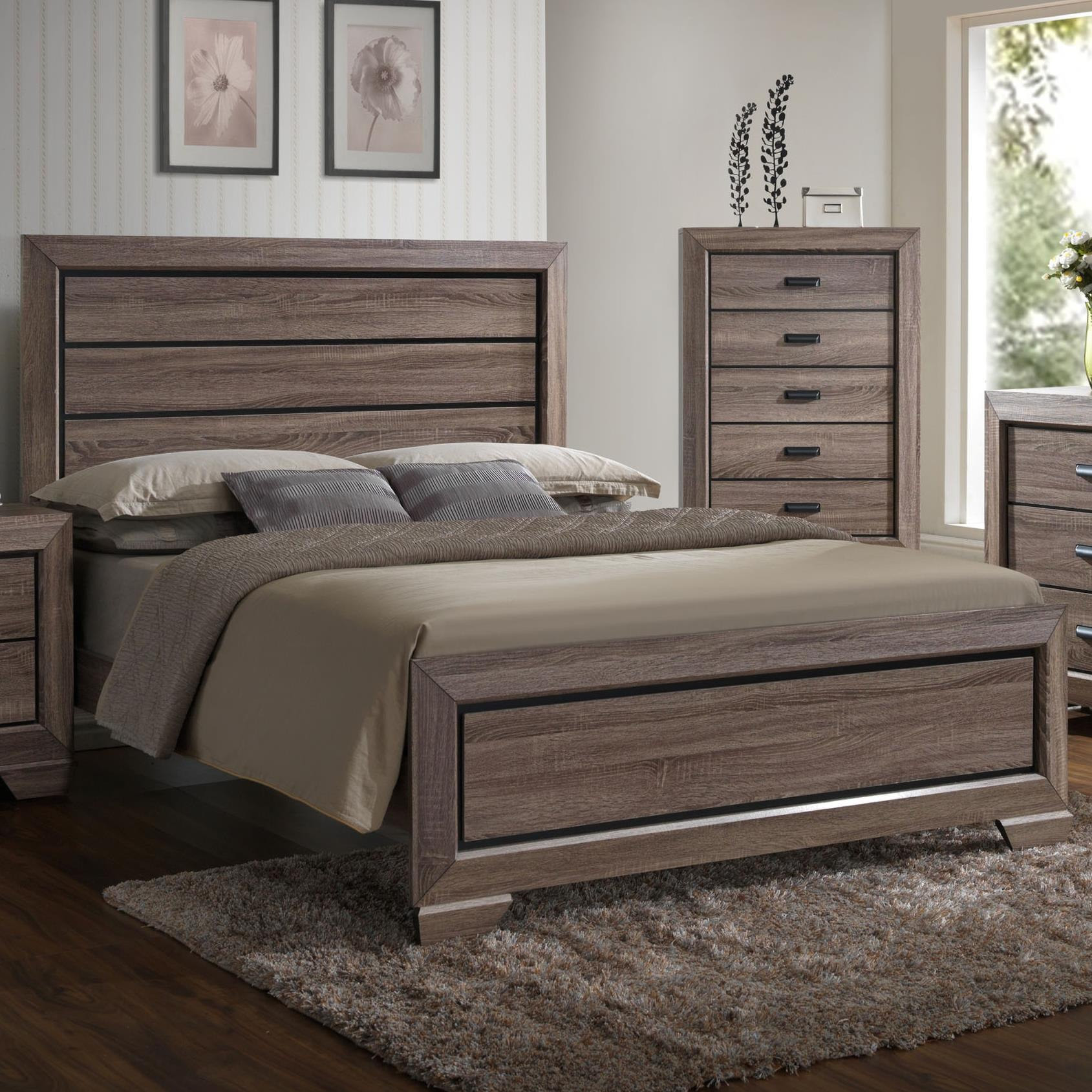Crown Mark Farrow Queen Headboard and Footboard Bed - Item Number: B5500-Q-HBFB+KQ-RAIL