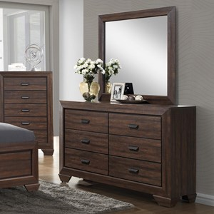 Crown Mark Farrow Dresser and Mirror Set - B5510-1+B5510-11