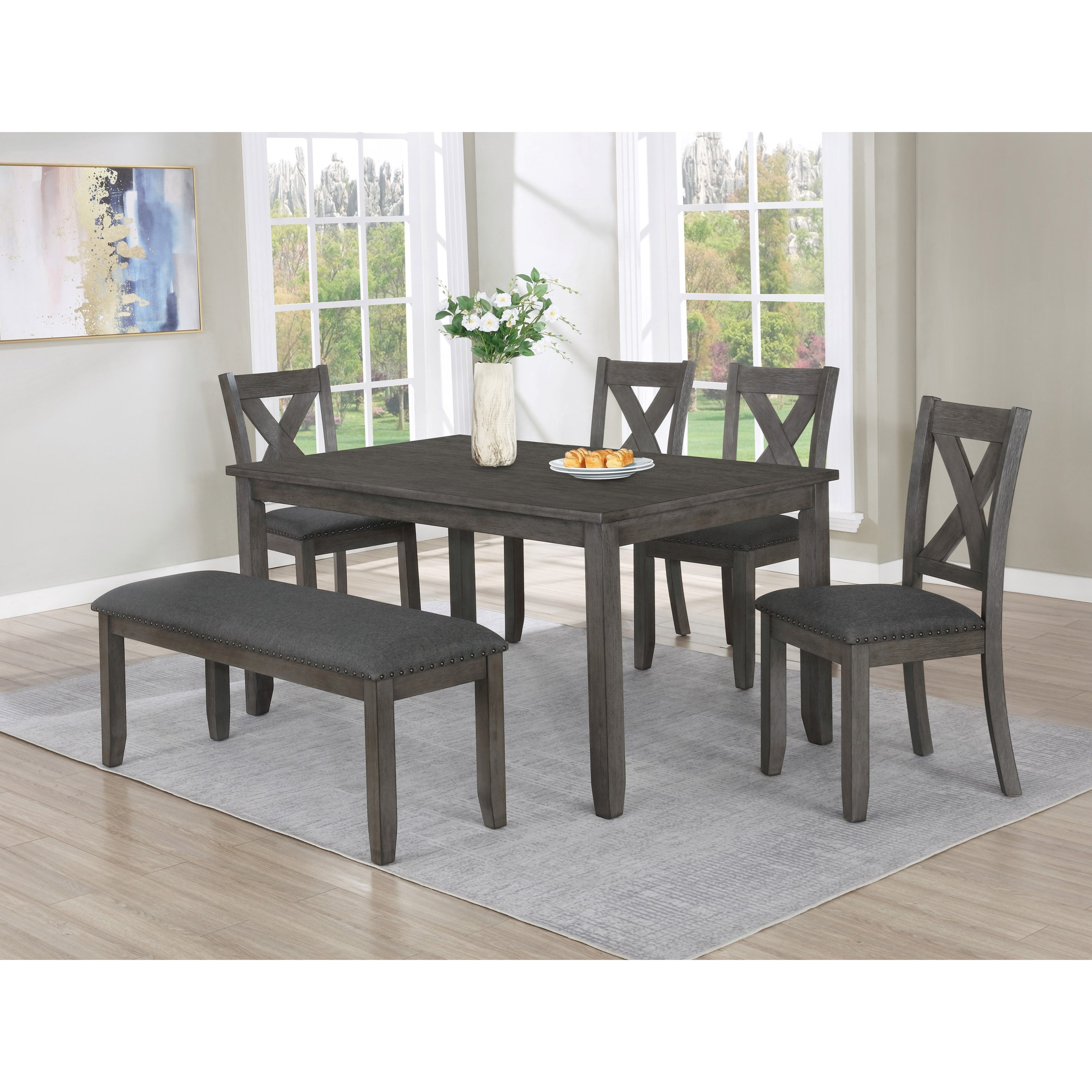 Favella Table Set with Bench by Crown Mark at Northeast Factory Direct