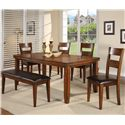 Crown Mark Figaro Rectangular Leg Dining Table - Shown with Coordinating Bench and Side Chairs