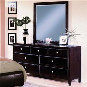 Crown Mark Flynn 7 Drawer Dresser with Mirror Combination