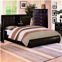 Crown Mark Flynn Queen Upholstered Platform Bed with Center Storage Drop - Shown with Center Drop Storage