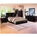 Crown Mark Flynn Queen Upholstered Platform Bed with Center Storage Drop - Shown with Coordinating Nightstand, Chest, and Dresser with Mirror Combination