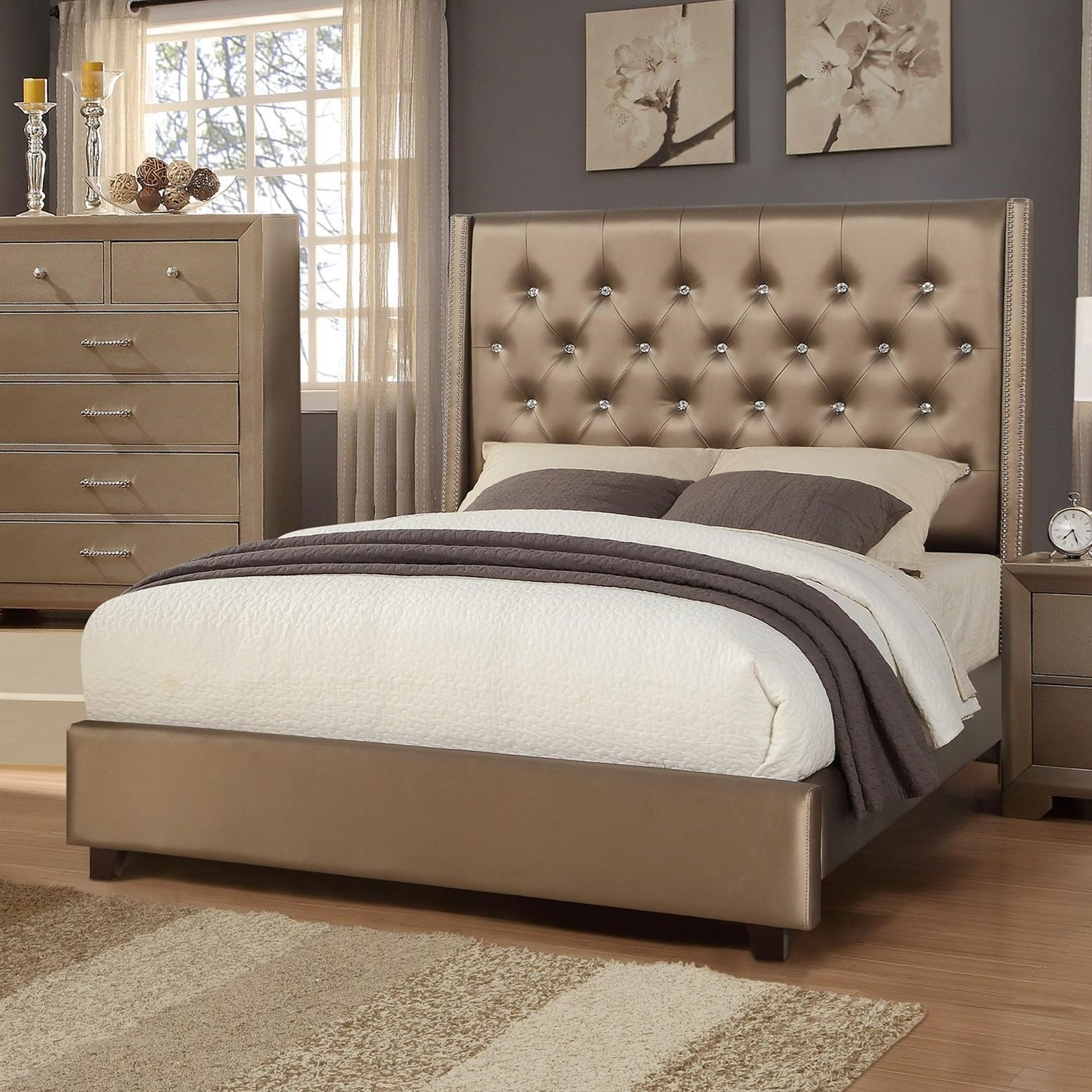 Crown Mark Fontaine Upholstered Queen Bed - Item Number: 5017-Q-HB+