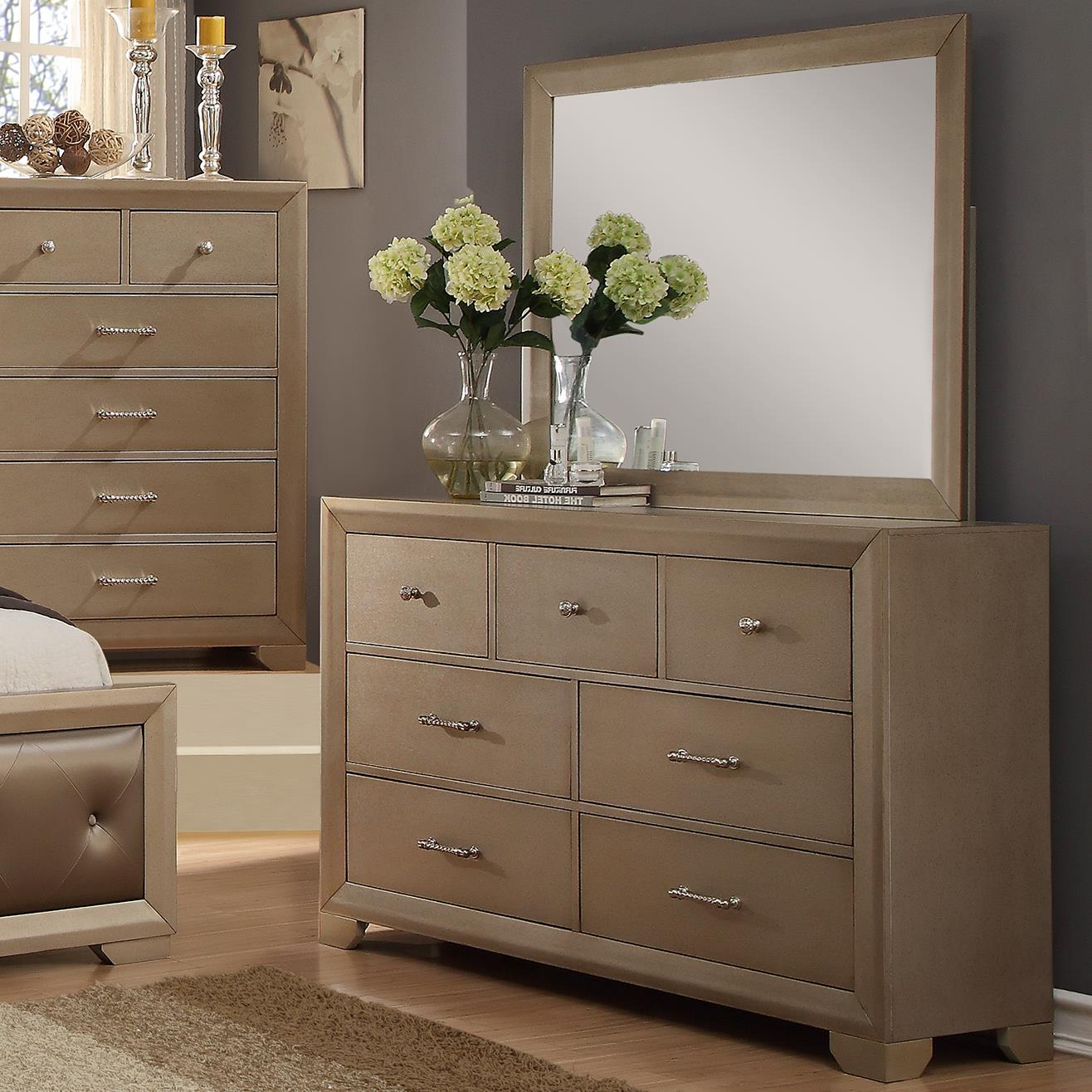 Crown Mark Fontaine Dresser And Mirror Set With Golden Metallic Finish Royal Furniture