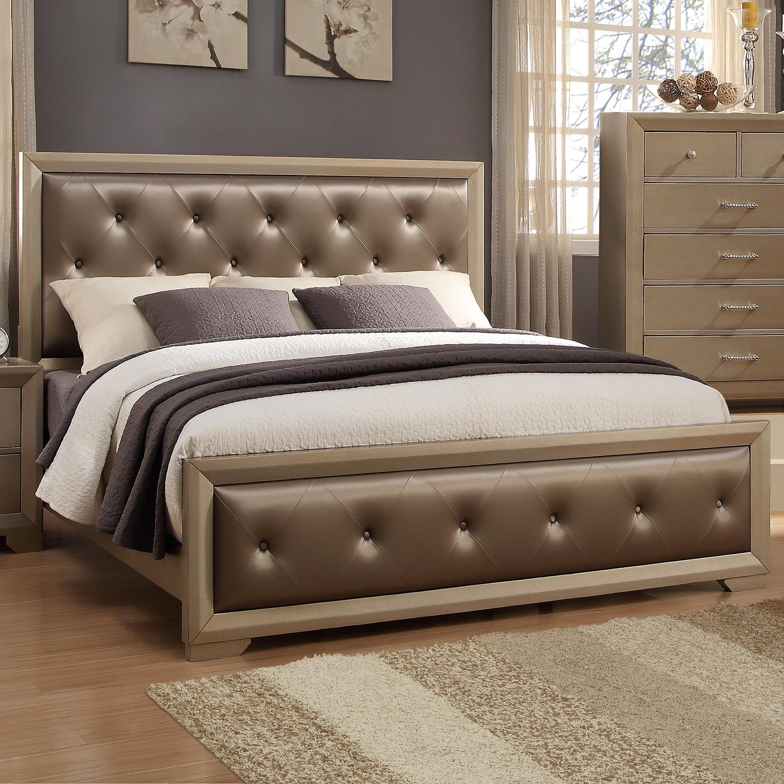 Crown Mark Fontaine Cal King Upholstered Bed - Item Number: B1700-K-FB+K-HB+CK-RAIL