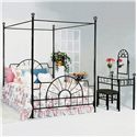 Crown Mark Foundry Queen Canopy Bed with Metal Frame and Bed Knobs - Bed Shown May Not Represent Size Indicated. Shown with Coordinating Vanity.