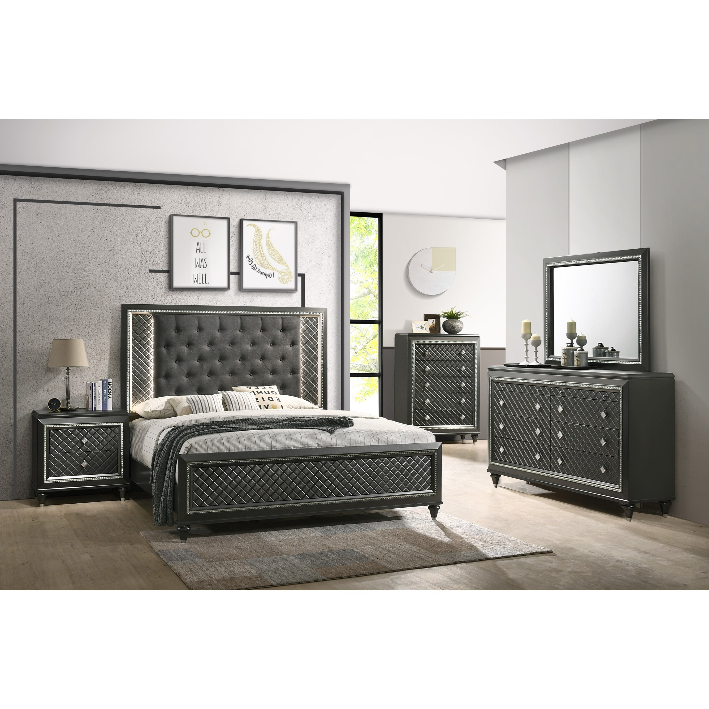 Crown Mark Farrow Queen Bedroom Group: Crown Mark Giovani Queen Upholstered Bed With Button