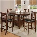 Crown Mark Hartwell Single Pedestal Counter Height Pub Table - Shown with Counter Height Chairs