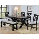 Crown Mark Havana 8 Piece Table & Chair Set - Item Number: 2335T-4290-LEG+TOP+6x2336S+2336-BEN