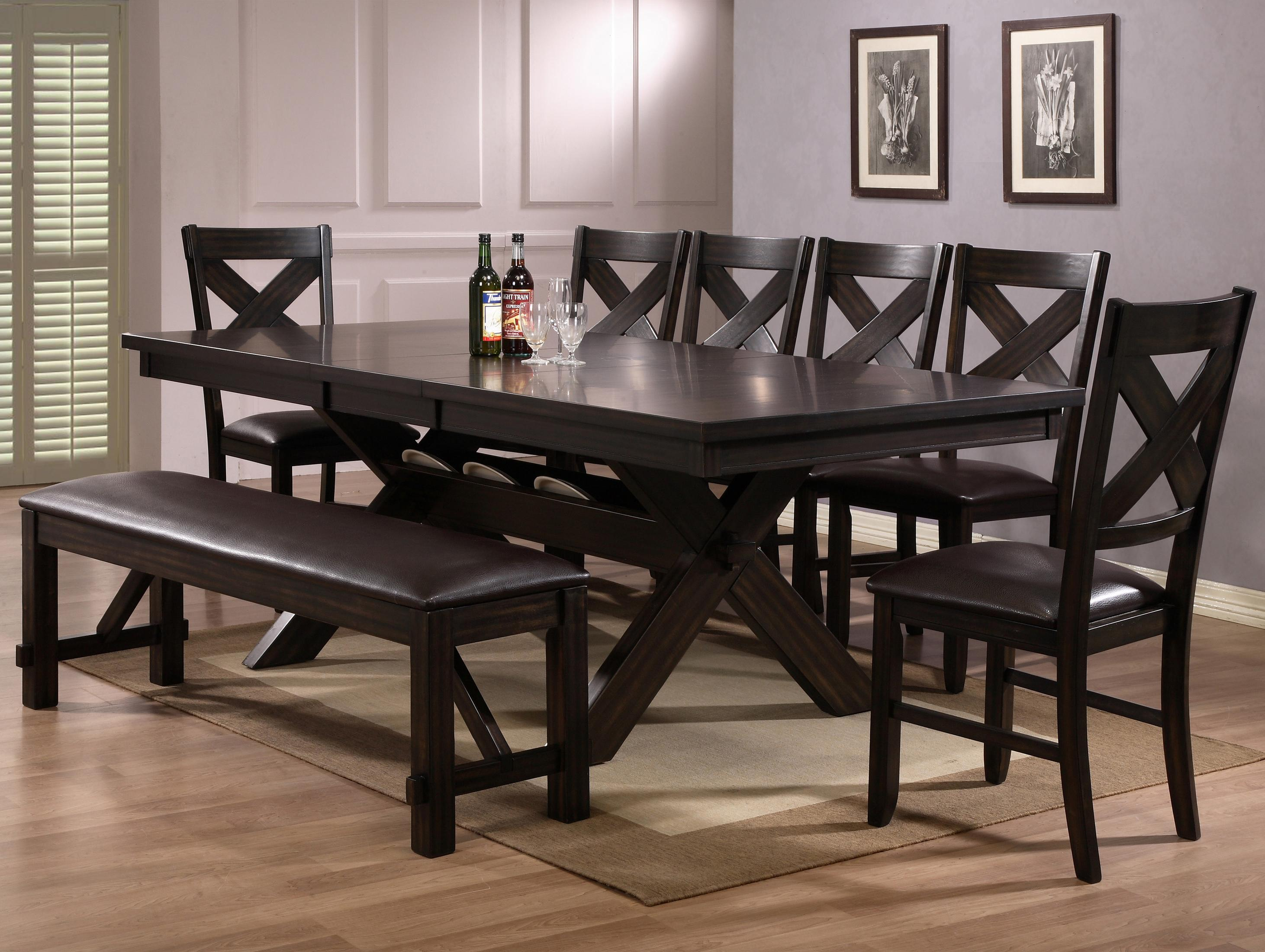 Crown Mark Havana 8 Piece Table & Chair Set - Item Number: 2335T-4290-LEG+TOP+6xS+BENCH