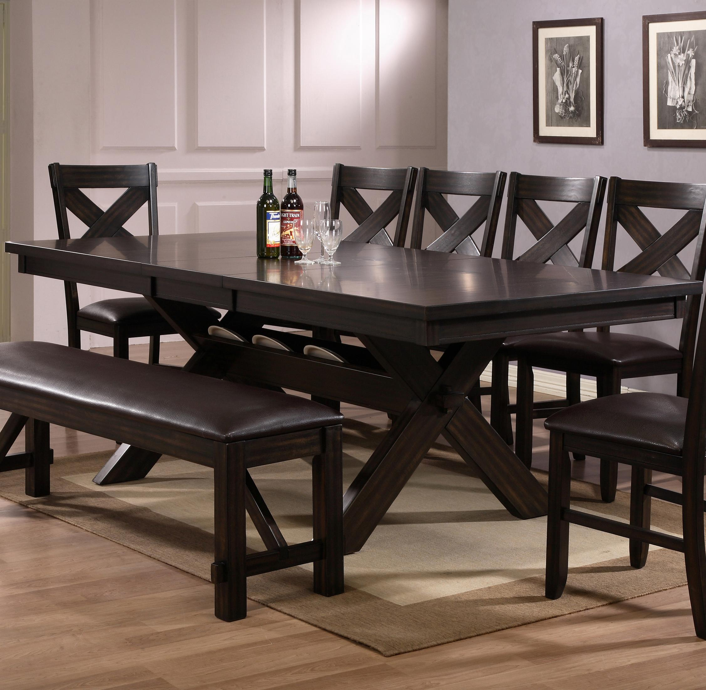 crown mark havana rectangular dining table with storage | wayside Black Brown Dining Table