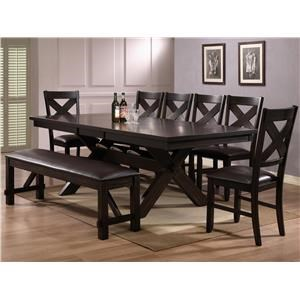 Crown Mark Havana 6 Piece Dining Table, Chair & Bench Set