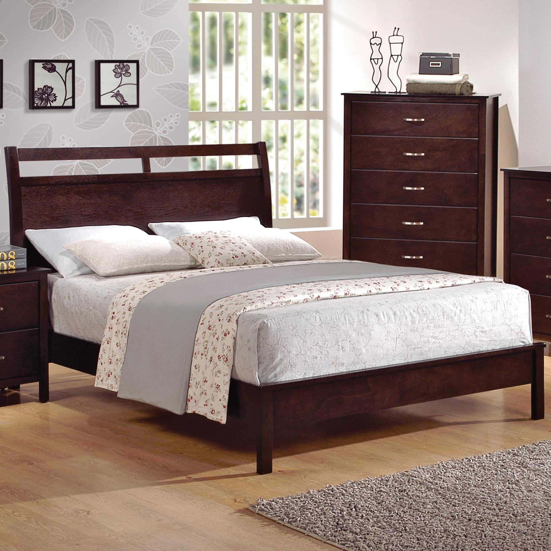 Crown Mark Ian Queen Low Profile Bed With Cutout Headboard