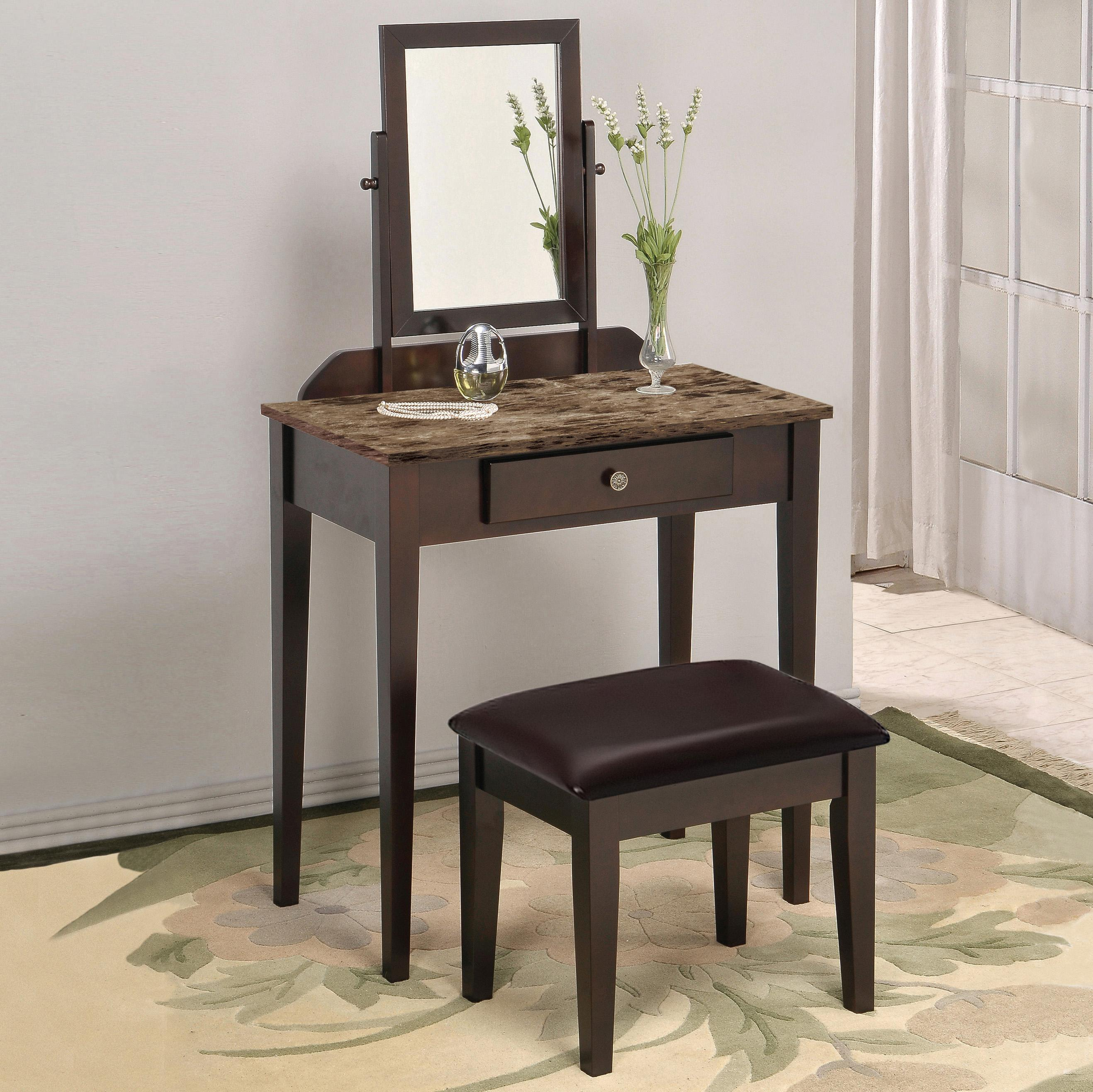 Crown Mark Iris Vanity Table & Stool - Item Number: 2208SET-MBL