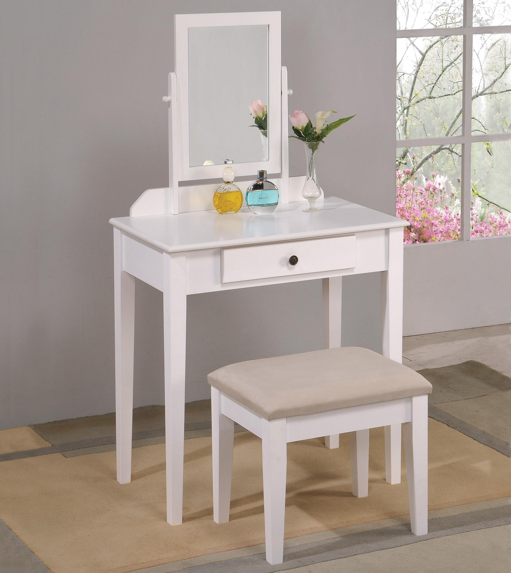 Crown Mark Iris Vanity Table & Stool - Item Number: 2208SET-WH