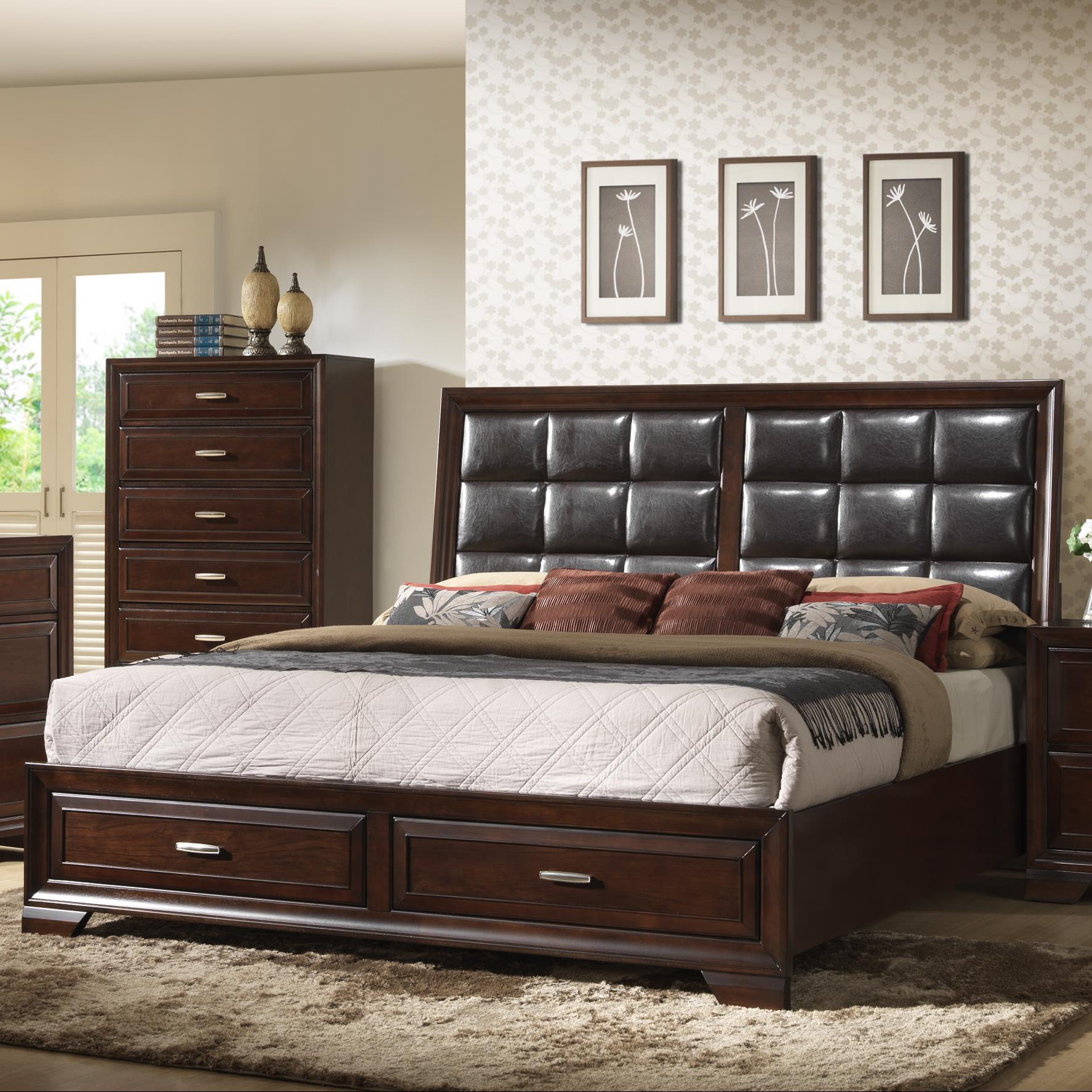 Crown Mark Jacob King Storage Bed - Item Number: B6515-K-HB+FBD+RAIL