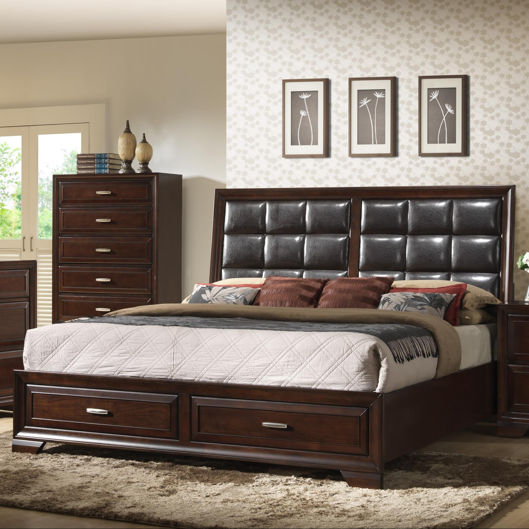 Crown Mark Jacob Queen Storage Bed - Item Number: B6515-Q-HB+FBD+RAIL