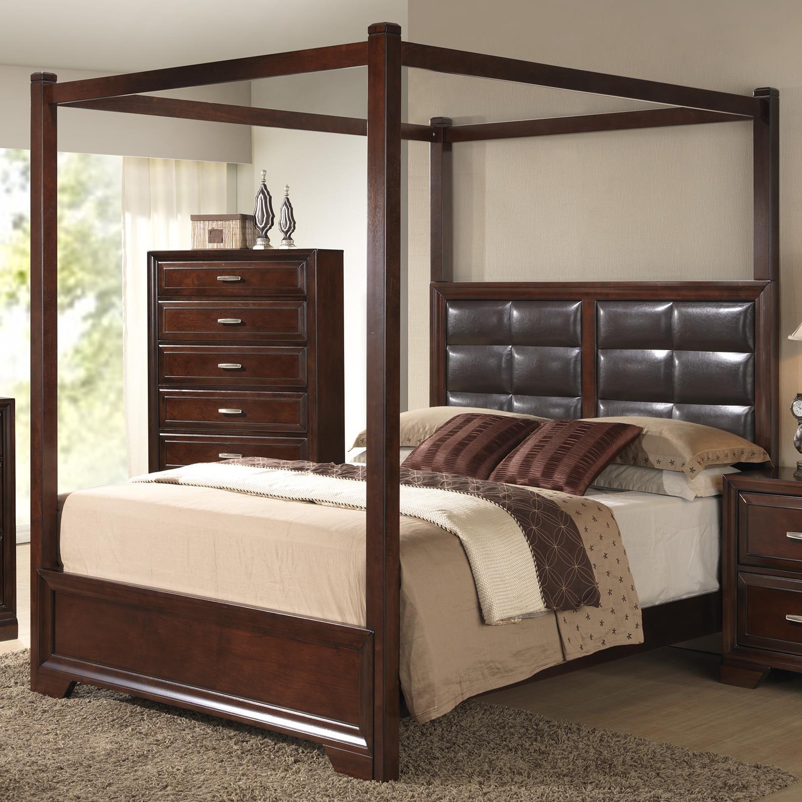 Crown Mark Jacob King Canopy Bed - Item Number: B6540-K-HB+K-FB+KQ-POST+KQ-RAIL