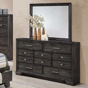 Crown Mark Jaymes Dresser and Mirror Combo