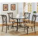 Crown Mark Jessica Dinette Table with Glass Top and Glass Shelf - Shown with Side Chairs