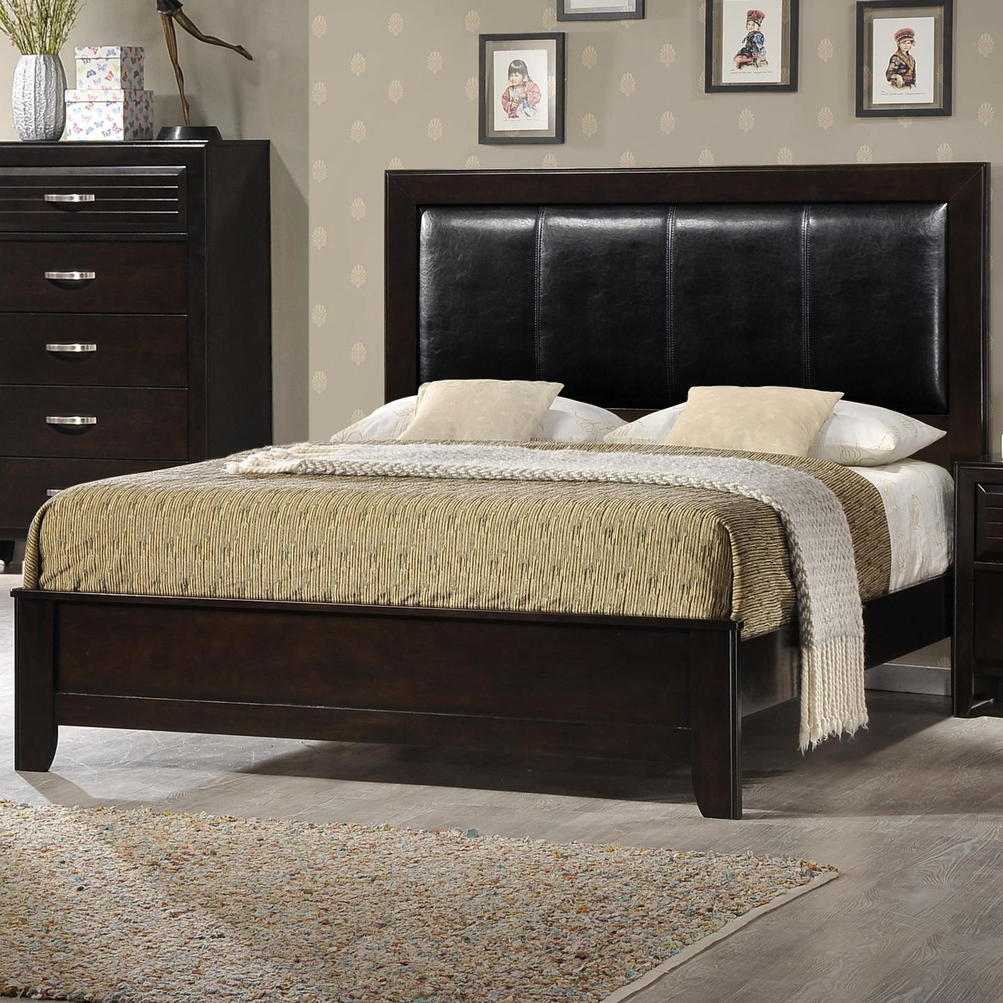Crown Mark Jocelyn Queen Upholstered Bed - Item Number: B7400-Q-HBFB+RAIL