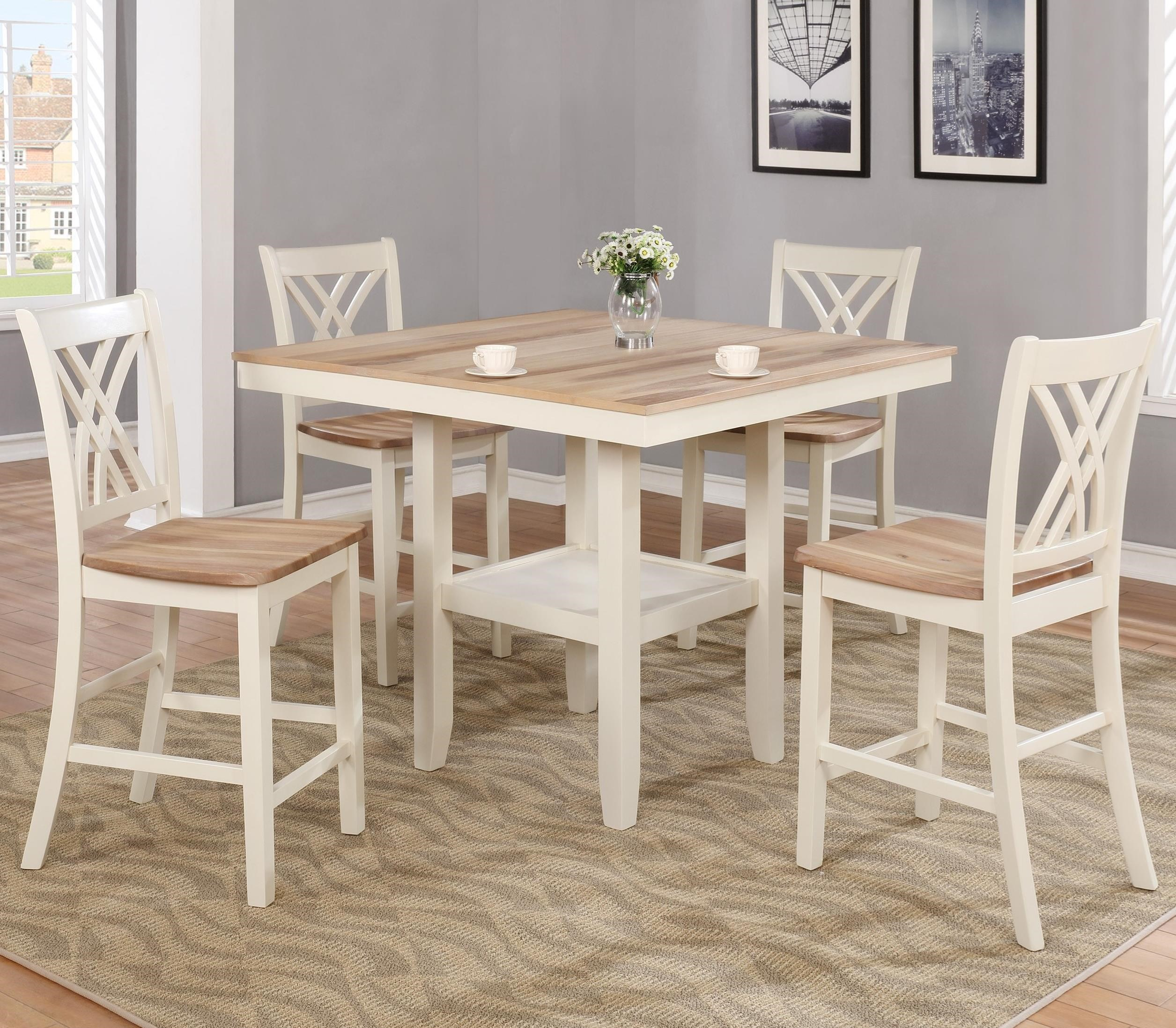 Newcastle Counter Height Dining Table 2 Chairs 2 Stools: Crown Mark Josie Two-Tone Counter Height Table And Chair