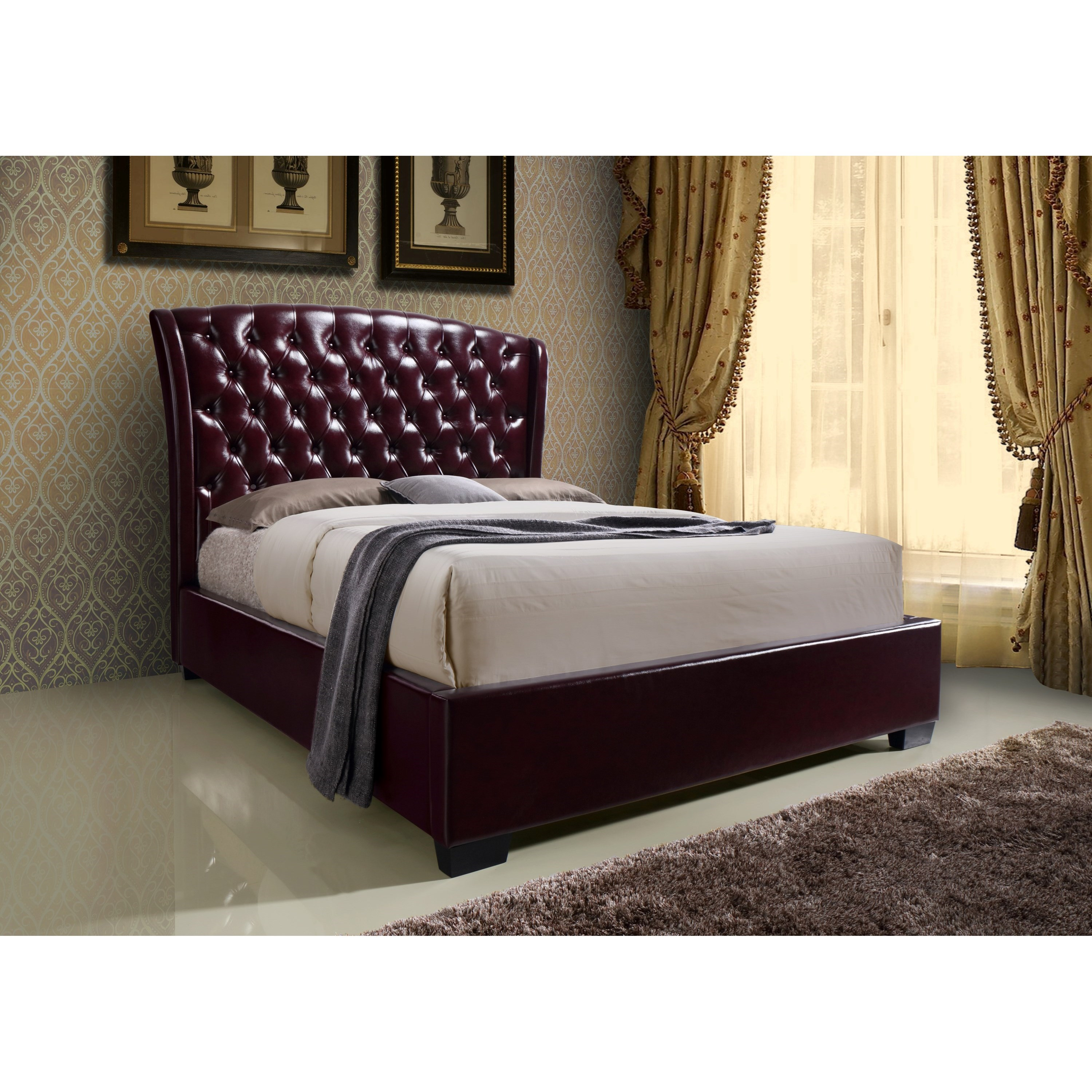 Crown Mark Kaitlyn Wine Queen Headboard and Footboard Bed - Item Number: 5276-Q-HB-WN+FB-WN+RAIL-WN