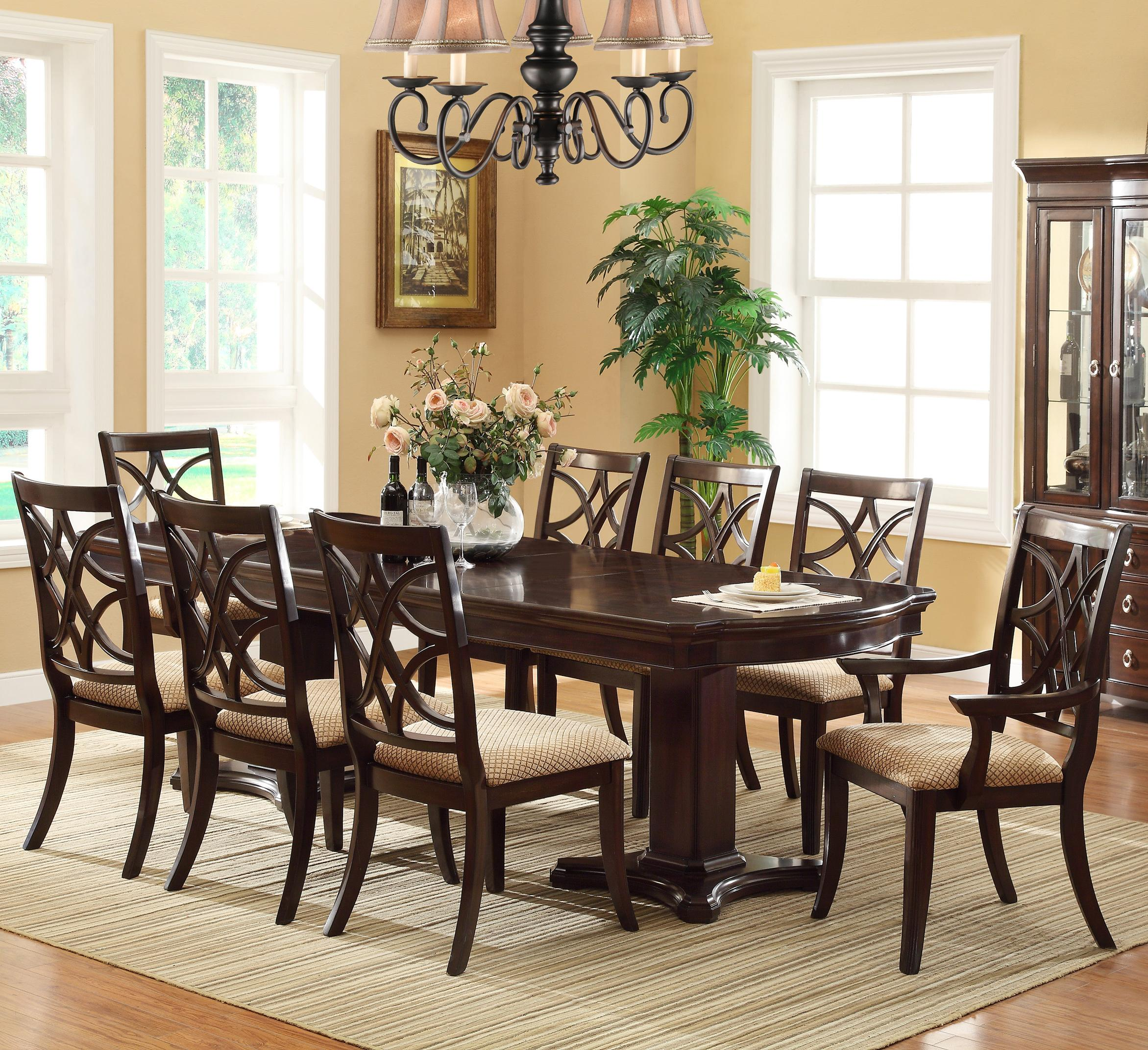 Crown Mark Katherine 9 Piece Table & Chair Set - Item Number: 2020T-42108-TOP+LEG+2xA+6xS