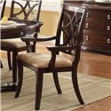 Crown Mark Katherine 9 Piece Pedestal Table & Upholstered Dining Chairs Set - Dining Arm Chair Shown